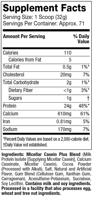 Supplement Facts - Casein Gold - Chocolate Supreme - 5 lbs.